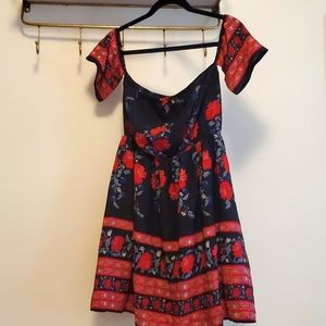 Beautiful red and navy print dress